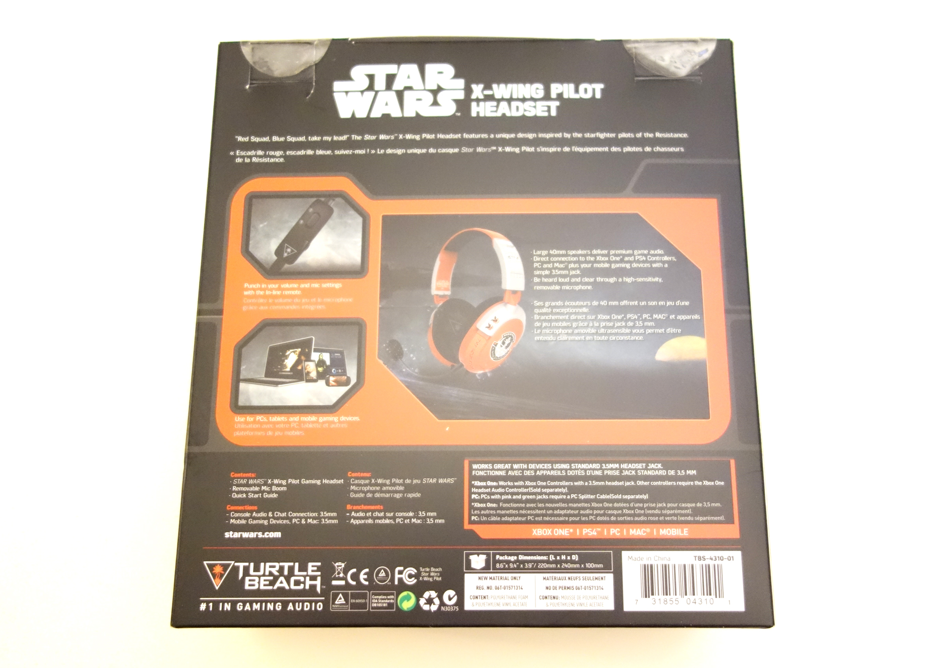Turtle Beach Star Wars X-Wing Pilot Gaming Headset review box back