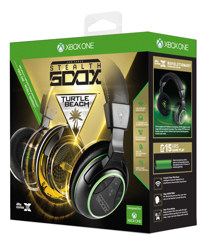 Turtle Beach Ear Force Stealth 500X Xbox One wireleless surround sound DTS Headphone:X review package box